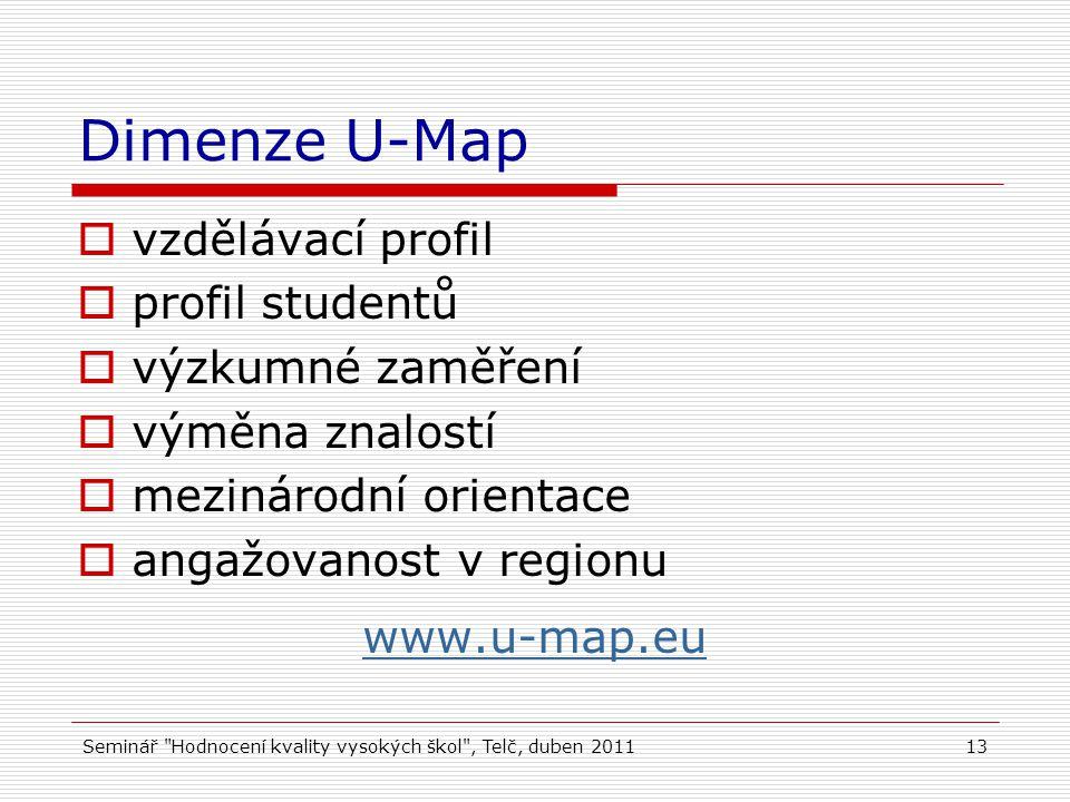 Seminář Hodnocení kvality vysokých škol , Telč, duben 201113 Dimenze U-Map  vzdělávací profil  profil studentů  výzkumné zaměření  výměna znalostí  mezinárodní orientace  angažovanost v regionu www.u-map.eu