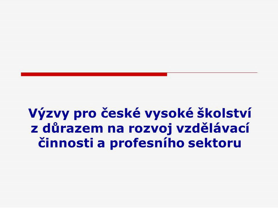 Výzvy pro české vysoké školství z důrazem na rozvoj vzdělávací činnosti a profesního sektoru