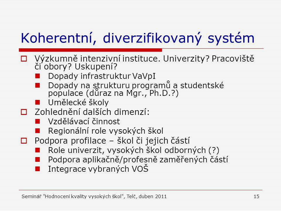 Seminář Hodnocení kvality vysokých škol , Telč, duben 201115 Koherentní, diverzifikovaný systém  Výzkumně intenzivní instituce.