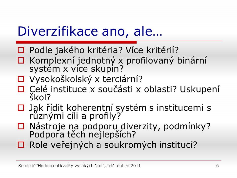 Seminář Hodnocení kvality vysokých škol , Telč, duben 20116 Diverzifikace ano, ale…  Podle jakého kritéria.