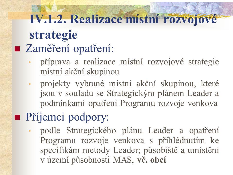 IV.1.2. Realizace místní rozvojové strategie Zaměření opatření: příprava a realizace místní rozvojové strategie místní akční skupinou projekty vybrané