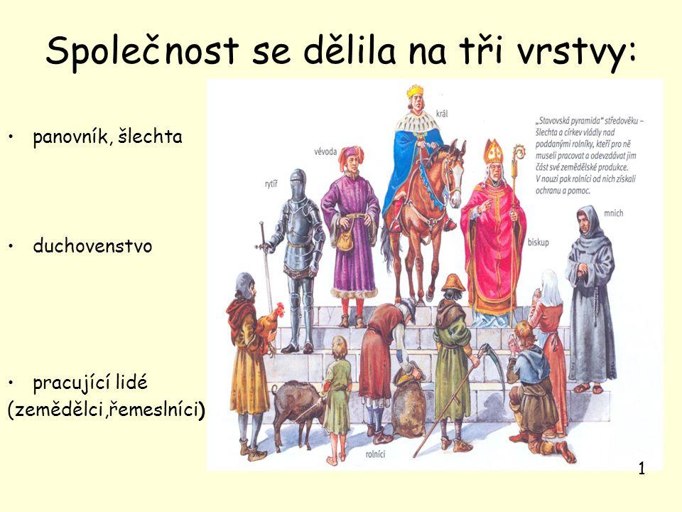 Společnost se dělila na tři vrstvy: panovník, šlechta duchovenstvo pracující lidé (zemědělci,řemeslníci) 1