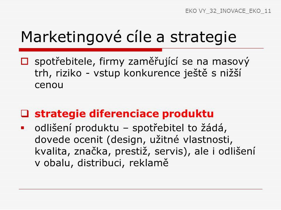Marketingové cíle a strategie  spotřebitele, firmy zaměřující se na masový trh, riziko - vstup konkurence ještě s nižší cenou  strategie diferenciace produktu  odlišení produktu – spotřebitel to žádá, dovede ocenit (design, užitné vlastnosti, kvalita, značka, prestiž, servis), ale i odlišení v obalu, distribuci, reklamě EKO VY_32_INOVACE_EKO_11