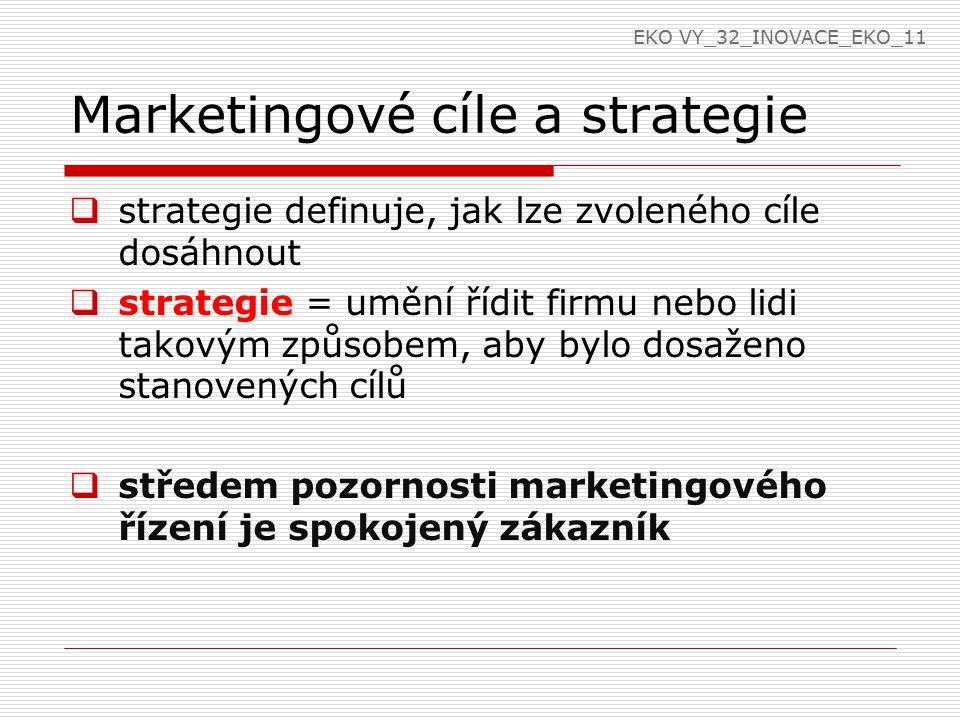 Marketingové cíle a strategie  strategie definuje, jak lze zvoleného cíle dosáhnout  strategie = umění řídit firmu nebo lidi takovým způsobem, aby bylo dosaženo stanovených cílů  středem pozornosti marketingového řízení je spokojený zákazník EKO VY_32_INOVACE_EKO_11