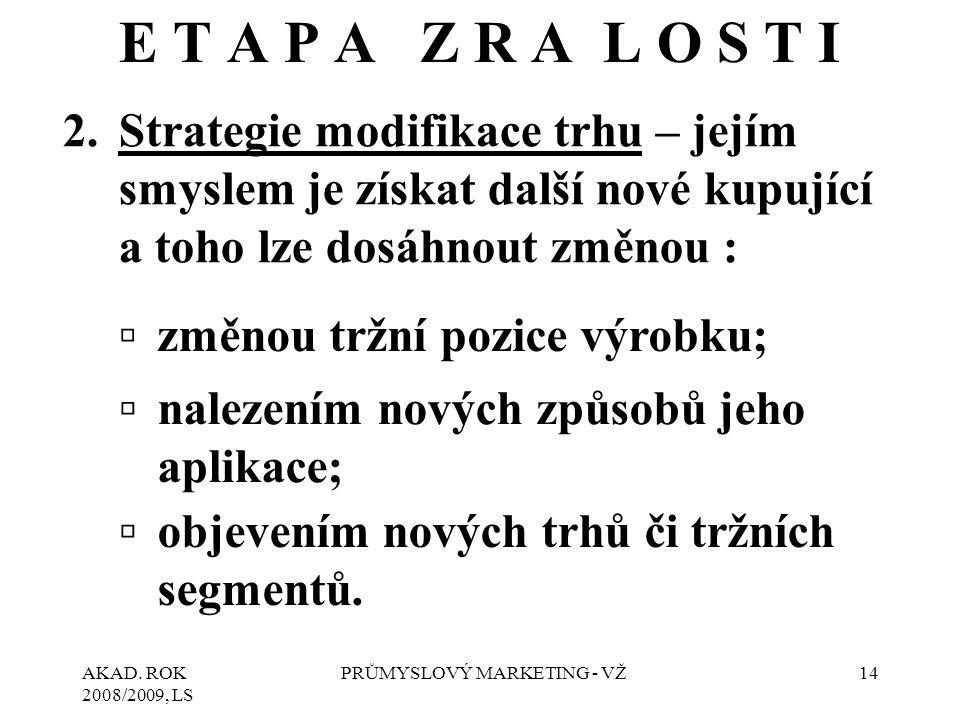 AKAD. ROK 2008/2009, LS PRŮMYSLOVÝ MARKETING - VŽ14 E T A P A Z R A L O S T I 2.Strategie modifikace trhu – jejím smyslem je získat další nové kupujíc