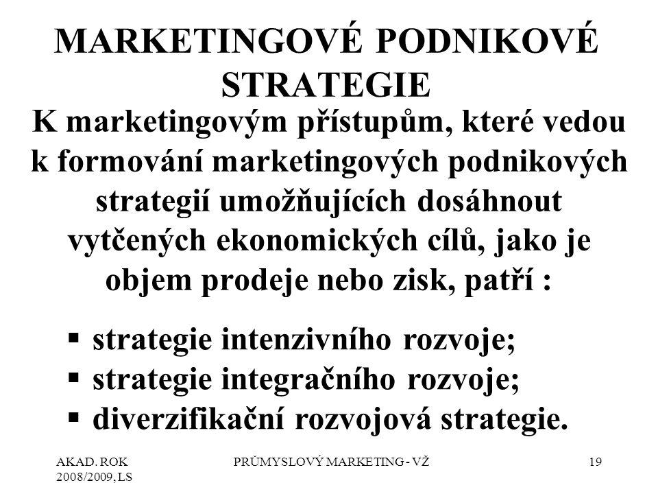 AKAD. ROK 2008/2009, LS PRŮMYSLOVÝ MARKETING - VŽ19 MARKETINGOVÉ PODNIKOVÉ STRATEGIE K marketingovým přístupům, které vedou k formování marketingových