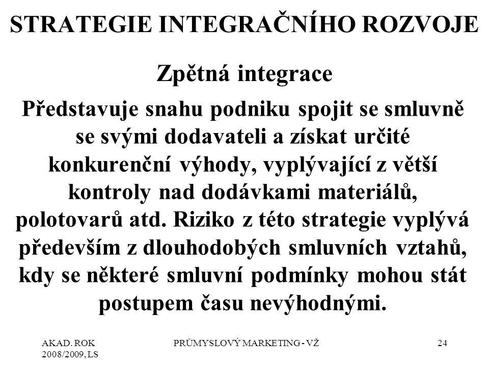 AKAD. ROK 2008/2009, LS PRŮMYSLOVÝ MARKETING - VŽ24 STRATEGIE INTEGRAČNÍHO ROZVOJE Zpětná integrace Představuje snahu podniku spojit se smluvně se svý