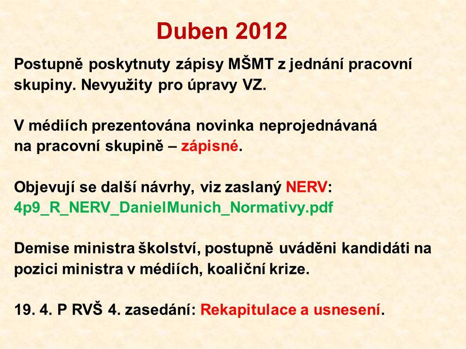 Duben 2012 Postupně poskytnuty zápisy MŠMT z jednání pracovní skupiny.