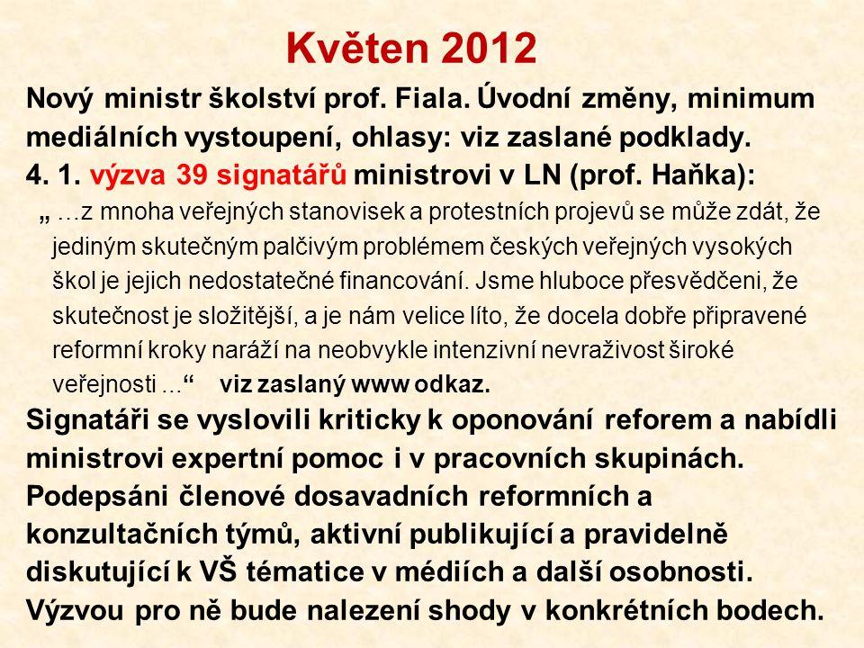 Květen 2012 Nový ministr školství prof. Fiala.