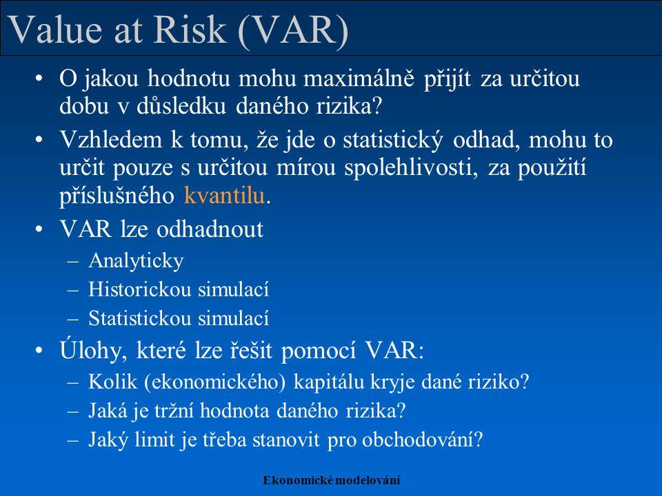 Ekonomické modelování Value at Risk (VAR) O jakou hodnotu mohu maximálně přijít za určitou dobu v důsledku daného rizika? Vzhledem k tomu, že jde o st