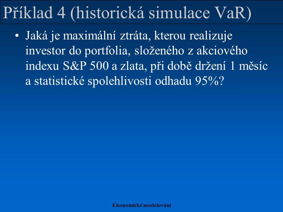 Ekonomické modelování Příklad 4 (historická simulace VaR) Jaká je maximální ztráta, kterou realizuje investor do portfolia, složeného z akciového inde