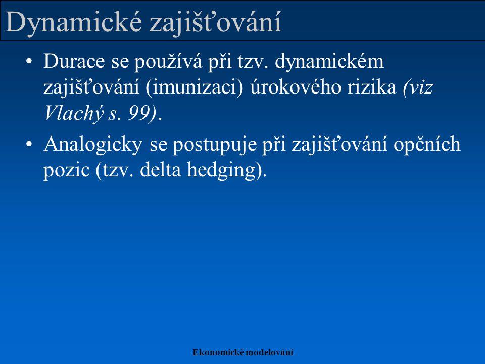 Ekonomické modelování Dynamické zajišťování Durace se používá při tzv. dynamickém zajišťování (imunizaci) úrokového rizika (viz Vlachý s. 99). Analogi