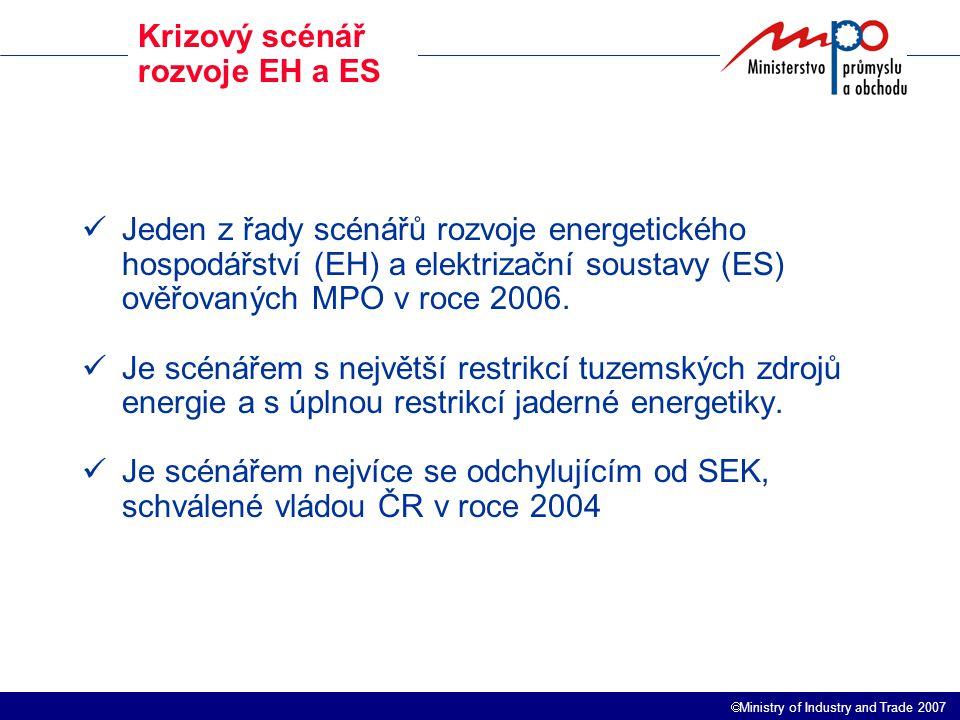  Ministry of Industry and Trade 2007 Krizový scénář rozvoje EH a ES Jeden z řady scénářů rozvoje energetického hospodářství (EH) a elektrizační soustavy (ES) ověřovaných MPO v roce 2006.
