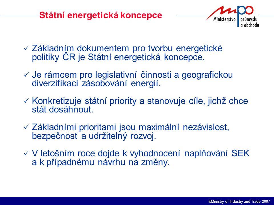  Ministry of Industry and Trade 2007 Zhodnocení krizového scénáře Problémem budoucího vývoje EH nebude snižování energetické náročnosti, ani emise (obojí zajistí technický rozvoj), ale budoucí struktura spotřeby PEZ a výroby elektřiny a s nimi spojená různá výše dovozní energetické závislosti a struktura dovozu zdrojů energie.