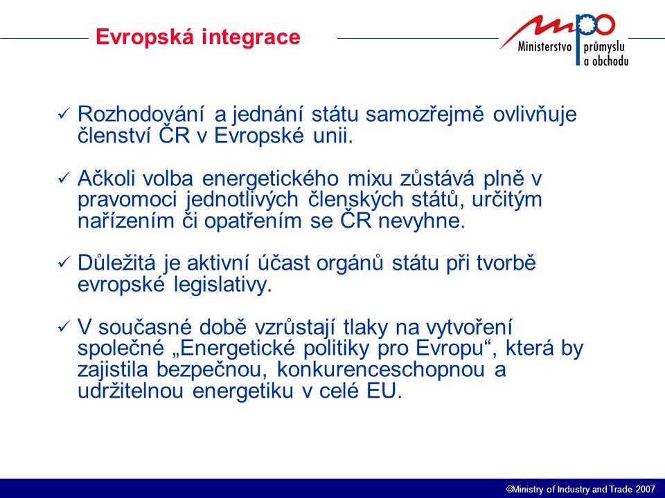  Ministry of Industry and Trade 2007 Bilance výroby a spotřeby elektřiny Spotřeba elektřiny v ČR trvale poroste, ale s klesajícím tempem.