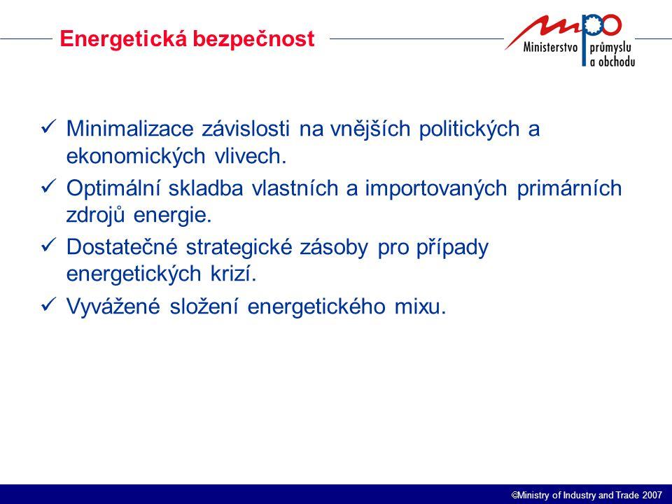 Ministry of Industry and Trade 2007 Energetická bezpečnost Minimalizace závislosti na vnějších politických a ekonomických vlivech.