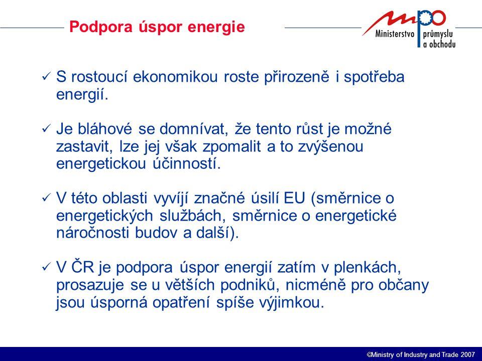  Ministry of Industry and Trade 2007 Podpora úspor energie S rostoucí ekonomikou roste přirozeně i spotřeba energií.