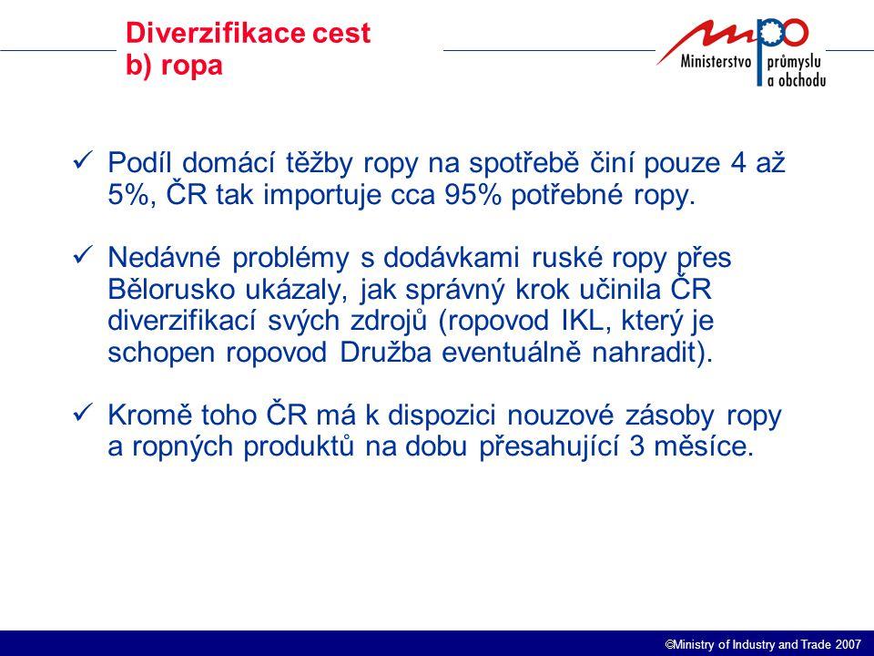  Ministry of Industry and Trade 2007 Výroba a prodej elektrické energie a tepla Ve výrobě elektrické energie je ČR zatím soběstačná – cca 25 % produkce se vyváží.