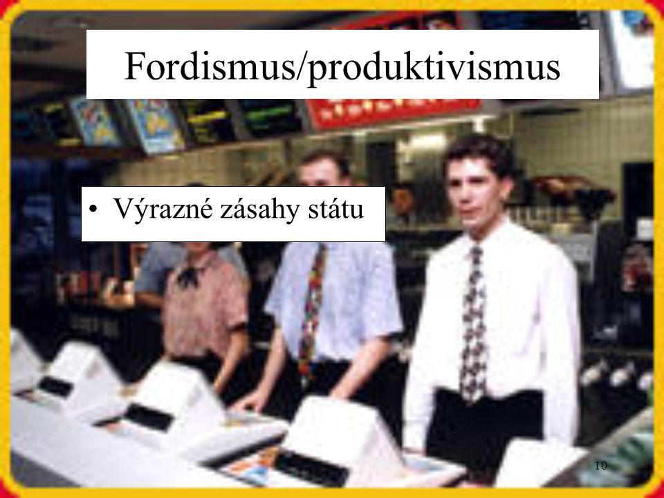 10 Výrazné zásahy státu Fordismus/produktivismus