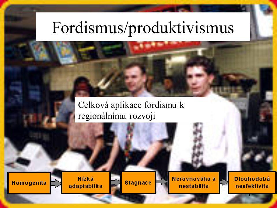 11 Celková aplikace fordismu k regionálnímu rozvoji Fordismus/produktivismus