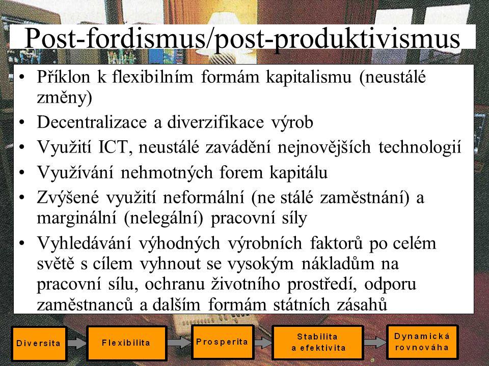 12 Post-fordismus/post-produktivismus Příklon k flexibilním formám kapitalismu (neustálé změny) Decentralizace a diverzifikace výrob Využití ICT, neus