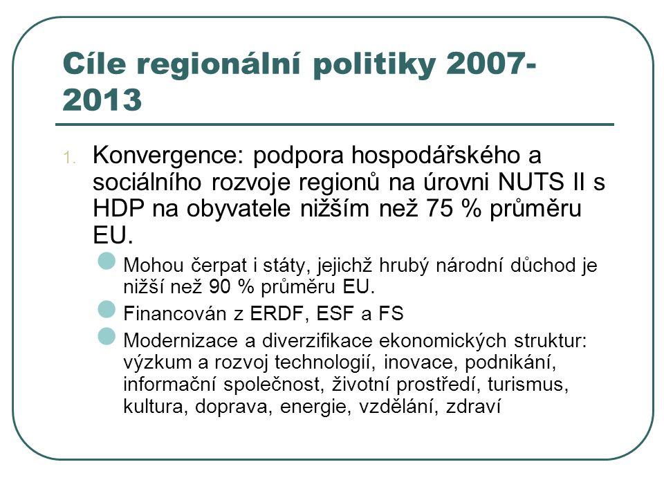 Cíle regionální politiky 2007- 2013 1. Konvergence: podpora hospodářského a sociálního rozvoje regionů na úrovni NUTS II s HDP na obyvatele nižším než