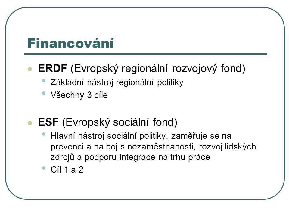 ERDF (Evropský regionální rozvojový fond) Základní nástroj regionální politiky Všechny 3 cíle ESF (Evropský sociální fond) Hlavní nástroj sociální politiky, zaměřuje se na prevenci a na boj s nezaměstnanosti, rozvoj lidských zdrojů a podporu integrace na trhu práce Cíl 1 a 2