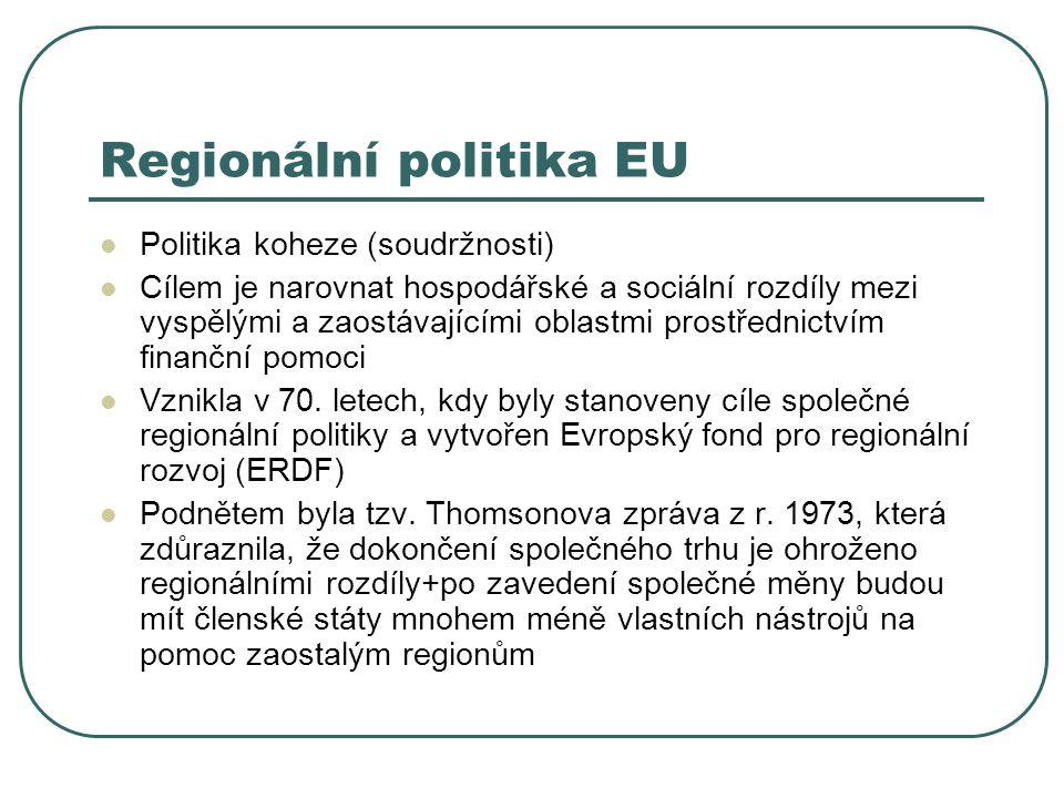 Regionální politika EU Politika koheze (soudržnosti) Cílem je narovnat hospodářské a sociální rozdíly mezi vyspělými a zaostávajícími oblastmi prostřednictvím finanční pomoci Vznikla v 70.