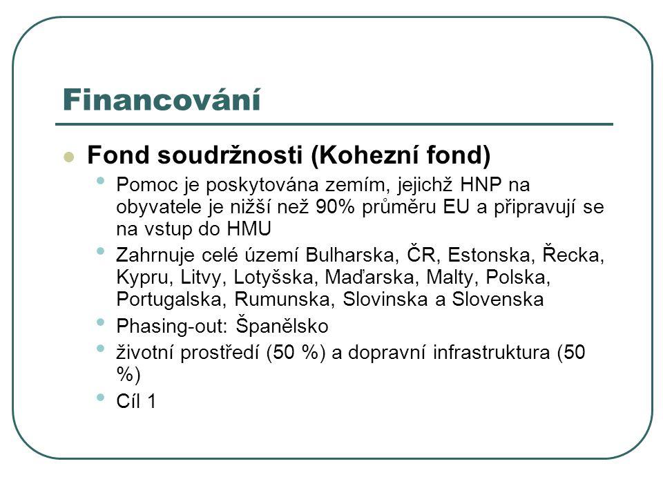 Financování Fond soudržnosti (Kohezní fond) Pomoc je poskytována zemím, jejichž HNP na obyvatele je nižší než 90% průměru EU a připravují se na vstup do HMU Zahrnuje celé území Bulharska, ČR, Estonska, Řecka, Kypru, Litvy, Lotyšska, Maďarska, Malty, Polska, Portugalska, Rumunska, Slovinska a Slovenska Phasing-out: Španělsko životní prostředí (50 %) a dopravní infrastruktura (50 %) Cíl 1
