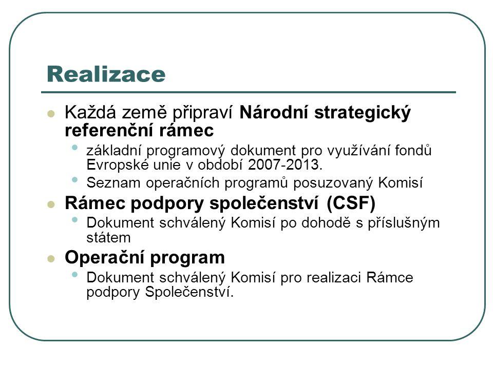 Realizace Každá země připraví Národní strategický referenční rámec základní programový dokument pro využívání fondů Evropské unie v období 2007-2013.