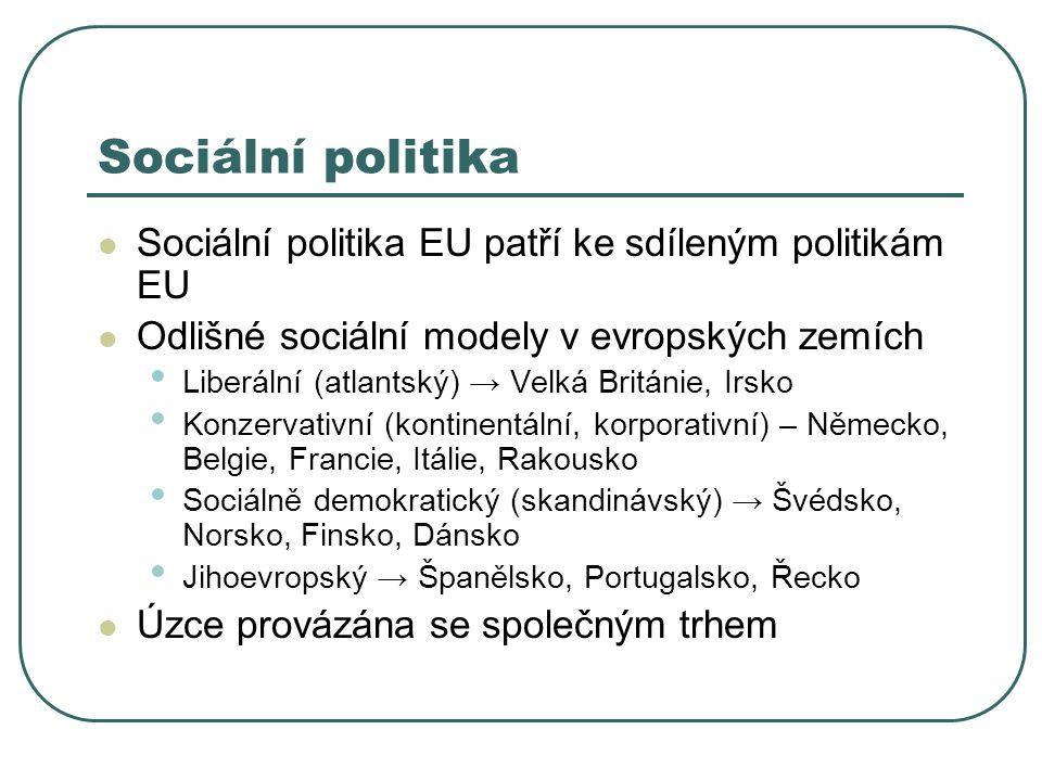 Sociální politika Sociální politika EU patří ke sdíleným politikám EU Odlišné sociální modely v evropských zemích Liberální (atlantský) → Velká Británie, Irsko Konzervativní (kontinentální, korporativní) – Německo, Belgie, Francie, Itálie, Rakousko Sociálně demokratický (skandinávský) → Švédsko, Norsko, Finsko, Dánsko Jihoevropský → Španělsko, Portugalsko, Řecko Úzce provázána se společným trhem