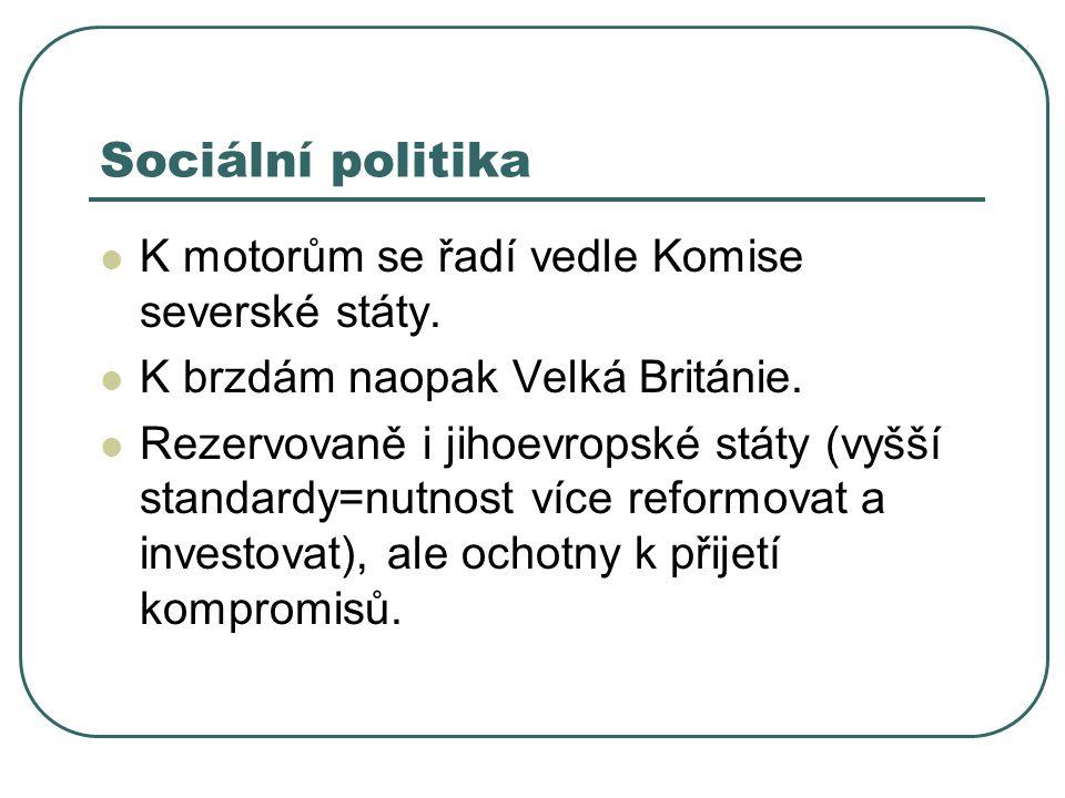 Sociální politika K motorům se řadí vedle Komise severské státy. K brzdám naopak Velká Británie. Rezervovaně i jihoevropské státy (vyšší standardy=nut