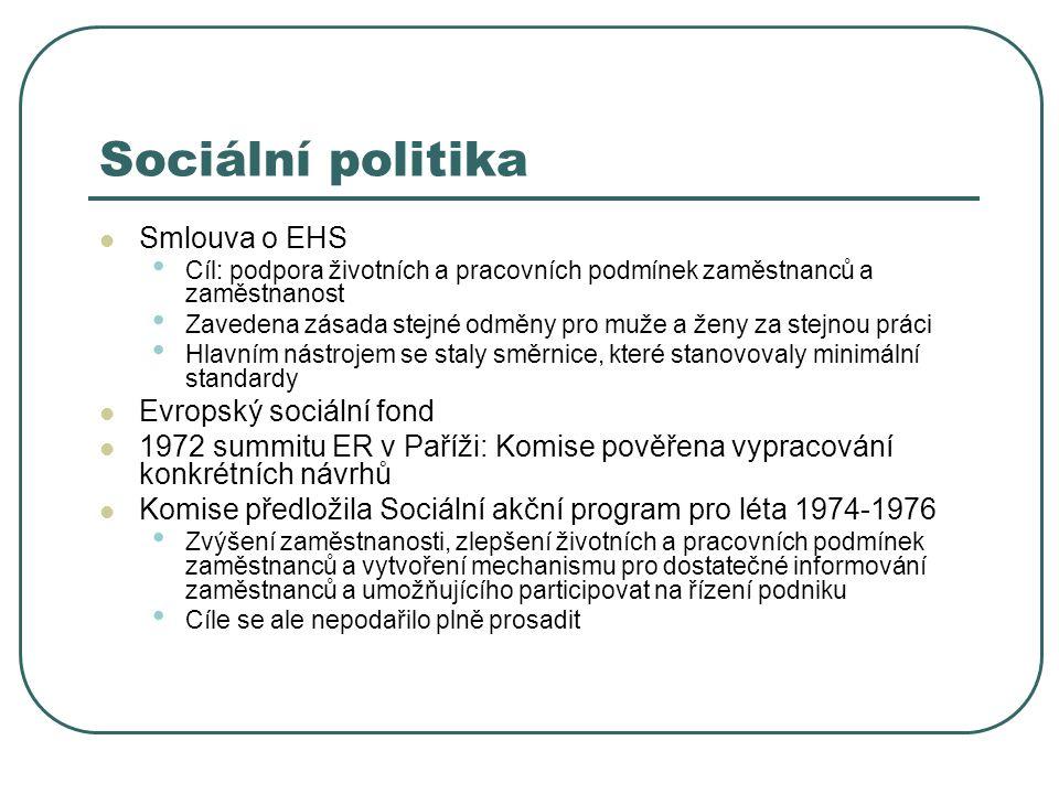 Sociální politika Smlouva o EHS Cíl: podpora životních a pracovních podmínek zaměstnanců a zaměstnanost Zavedena zásada stejné odměny pro muže a ženy za stejnou práci Hlavním nástrojem se staly směrnice, které stanovovaly minimální standardy Evropský sociální fond 1972 summitu ER v Paříži: Komise pověřena vypracování konkrétních návrhů Komise předložila Sociální akční program pro léta 1974-1976 Zvýšení zaměstnanosti, zlepšení životních a pracovních podmínek zaměstnanců a vytvoření mechanismu pro dostatečné informování zaměstnanců a umožňujícího participovat na řízení podniku Cíle se ale nepodařilo plně prosadit