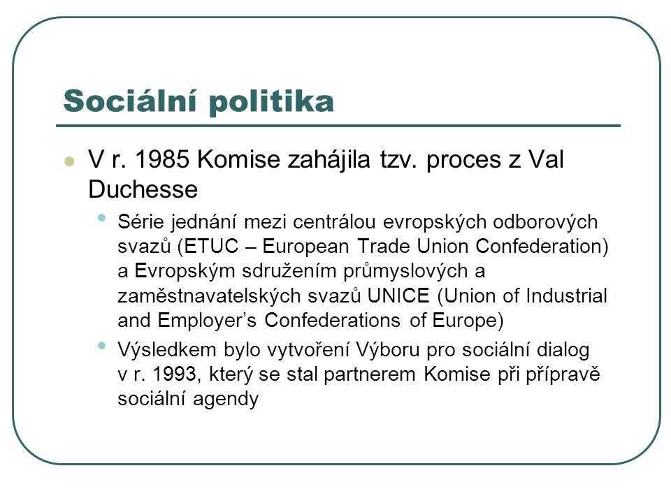 Sociální politika V r. 1985 Komise zahájila tzv. proces z Val Duchesse Série jednání mezi centrálou evropských odborových svazů (ETUC – European Trade