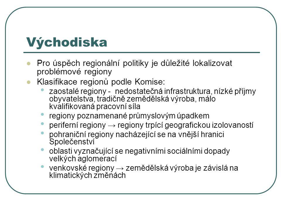 Východiska Pro úspěch regionální politiky je důležité lokalizovat problémové regiony Klasifikace regionů podle Komise: zaostalé regiony - nedostatečná