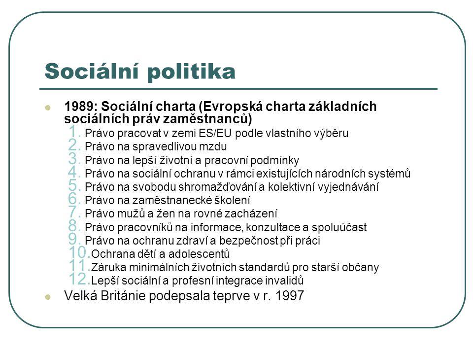 Sociální politika 1989: Sociální charta (Evropská charta základních sociálních práv zaměstnanců) 1. Právo pracovat v zemi ES/EU podle vlastního výběru