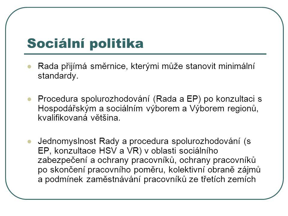 Sociální politika Rada přijímá směrnice, kterými může stanovit minimální standardy. Procedura spolurozhodování (Rada a EP) po konzultaci s Hospodářský