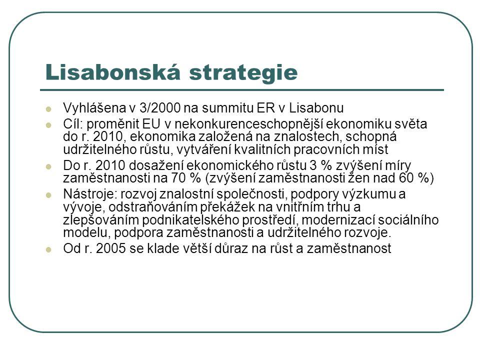 Lisabonská strategie Vyhlášena v 3/2000 na summitu ER v Lisabonu Cíl: proměnit EU v nekonkurenceschopnější ekonomiku světa do r. 2010, ekonomika založ