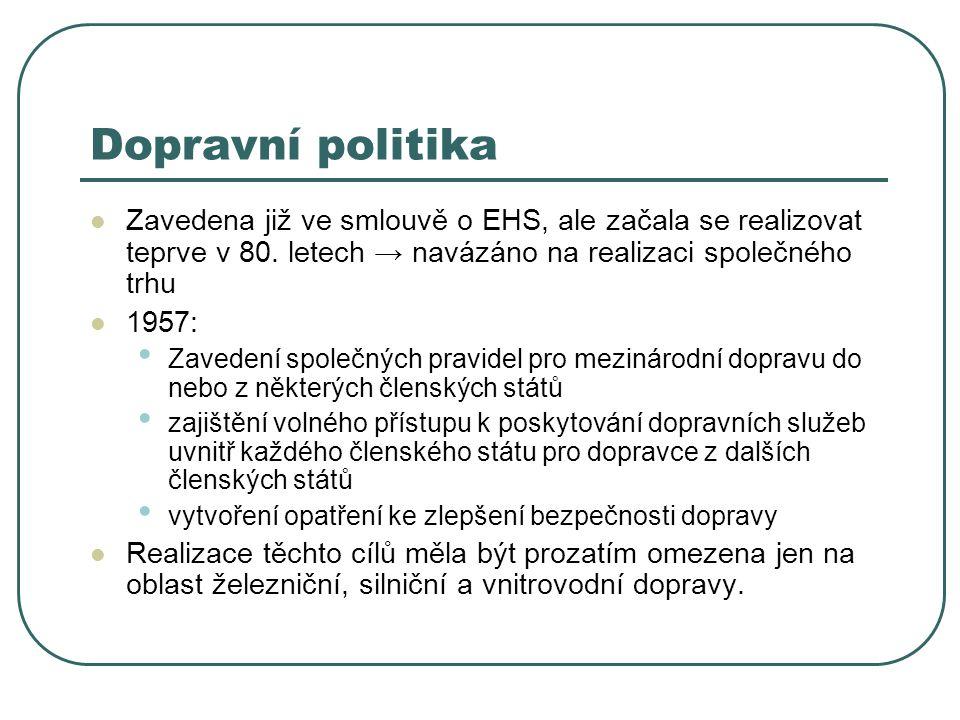 Dopravní politika Zavedena již ve smlouvě o EHS, ale začala se realizovat teprve v 80. letech → navázáno na realizaci společného trhu 1957: Zavedení s