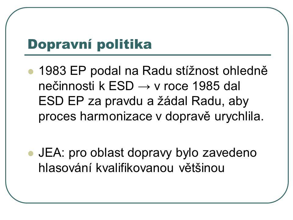 Dopravní politika 1983 EP podal na Radu stížnost ohledně nečinnosti k ESD → v roce 1985 dal ESD EP za pravdu a žádal Radu, aby proces harmonizace v dopravě urychlila.