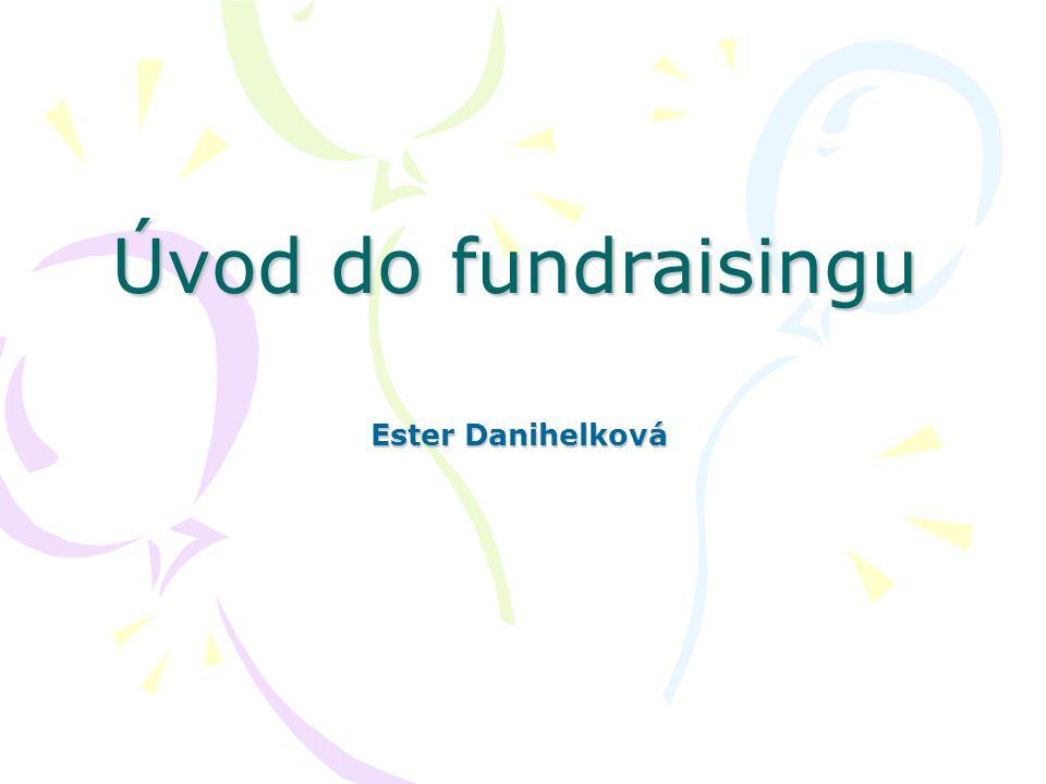 Úvod do fundraisingu 12 Fundraisingová strategie Stanovení potřeb Budoucí rozvoj organizace Identifikace zdrojů Vyhodnocení příležitostí Význam dlouhodobé perspektivy Vyjasnění limitů Určení strategie