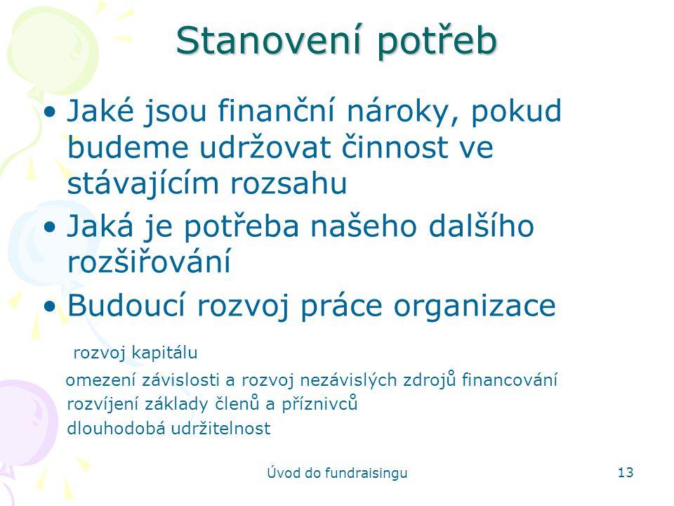 Úvod do fundraisingu 13 Stanovení potřeb Jaké jsou finanční nároky, pokud budeme udržovat činnost ve stávajícím rozsahu Jaká je potřeba našeho dalšího