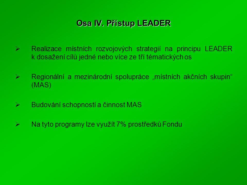 Osa IV. Přístup LEADER  Realizace místních rozvojových strategií na principu LEADER k dosažení cílů jedné nebo více ze tří tématických os  Regionáln