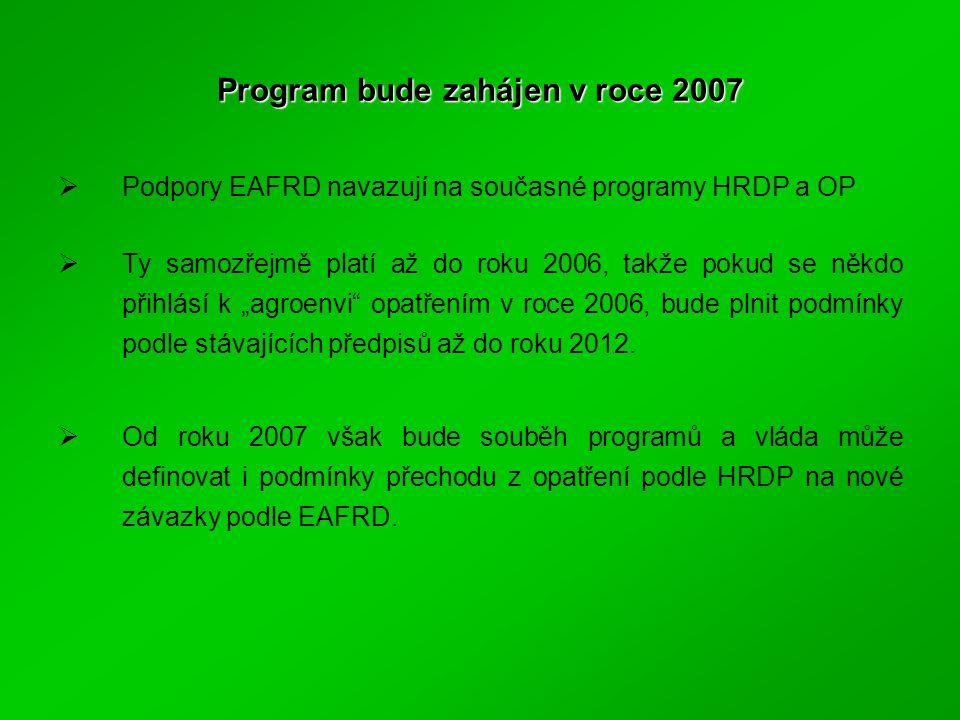"""Program bude zahájen v roce 2007  Podpory EAFRD navazují na současné programy HRDP a OP  Ty samozřejmě platí až do roku 2006, takže pokud se někdo přihlásí k """"agroenvi opatřením v roce 2006, bude plnit podmínky podle stávajících předpisů až do roku 2012."""
