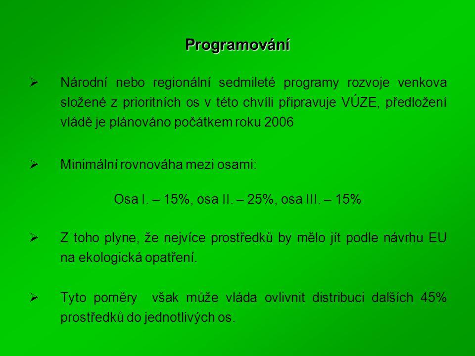 Programování  Národní nebo regionální sedmileté programy rozvoje venkova složené z prioritních os v této chvíli připravuje VÚZE, předložení vládě je plánováno počátkem roku 2006  Minimální rovnováha mezi osami: Osa I.