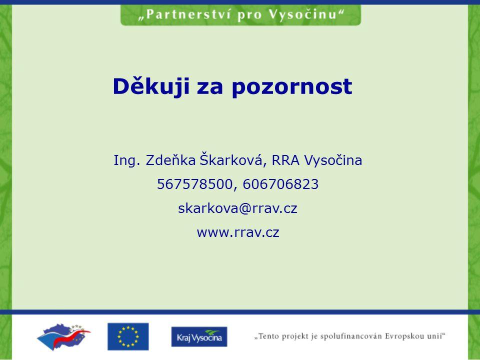 Děkuji za pozornost Ing. Zdeňka Škarková, RRA Vysočina 567578500, 606706823 skarkova@rrav.cz www.rrav.cz