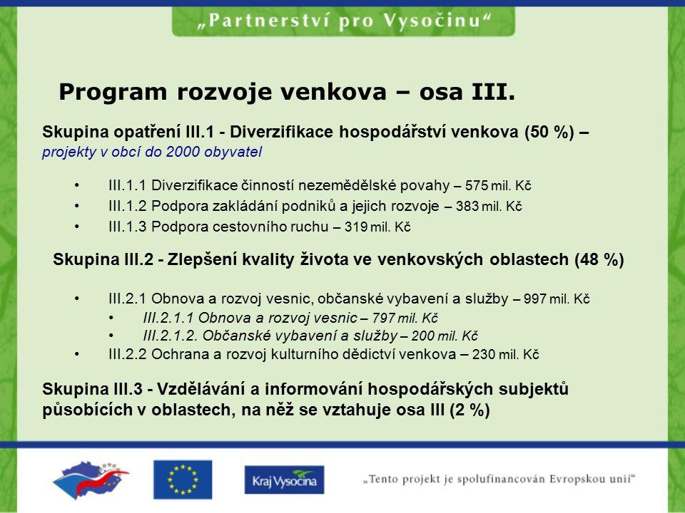 Skupina opatření III.1 - Diverzifikace hospodářství venkova (50 %) – projekty v obcí do 2000 obyvatel Skupina III.2 - Zlepšení kvality života ve venko