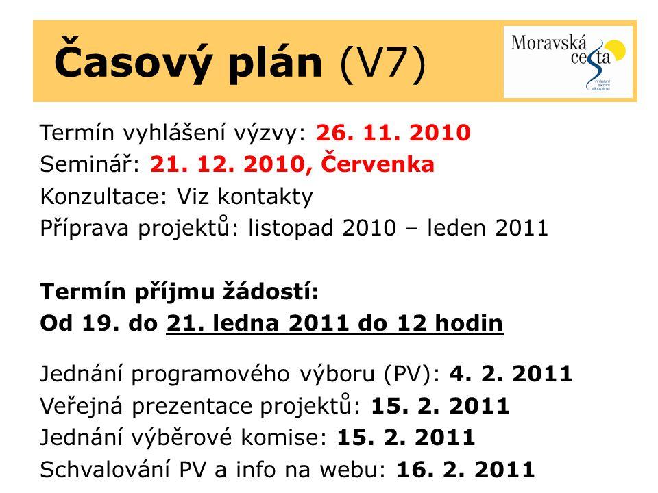 Časový plán (V7) Termín vyhlášení výzvy: 26. 11. 2010 Seminář: 21. 12. 2010, Červenka Konzultace: Viz kontakty Příprava projektů: listopad 2010 – lede