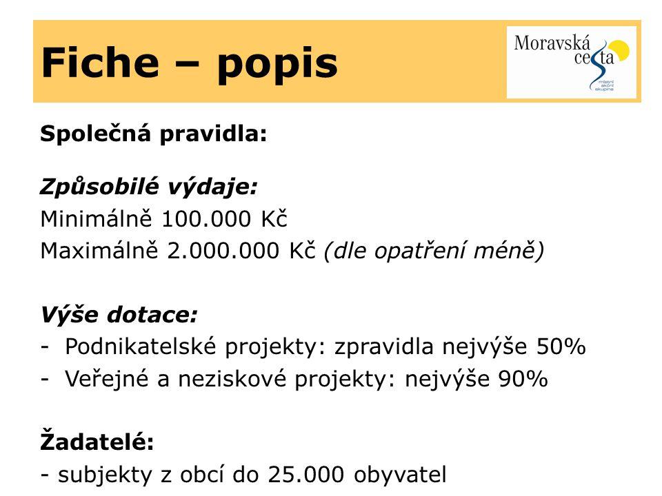 Fiche – popis Společná pravidla: Způsobilé výdaje: Minimálně 100.000 Kč Maximálně 2.000.000 Kč (dle opatření méně) Výše dotace: -Podnikatelské projekt