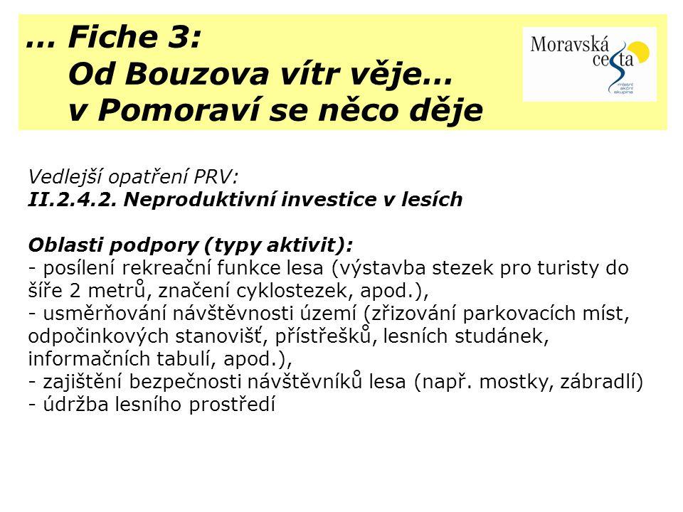 … Fiche 3: Od Bouzova vítr věje… v Pomoraví se něco děje Vedlejší opatření PRV: II.2.4.2. Neproduktivní investice v lesích Oblasti podpory (typy aktiv